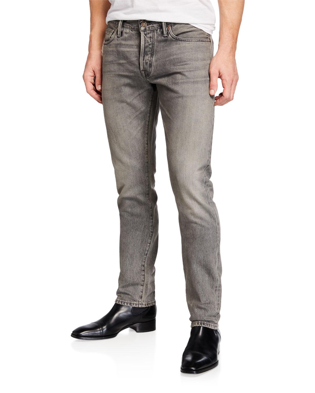 8efc6723a53a46 Tom Ford Men's Slim-Fit Denim Jeans In Gray   ModeSens