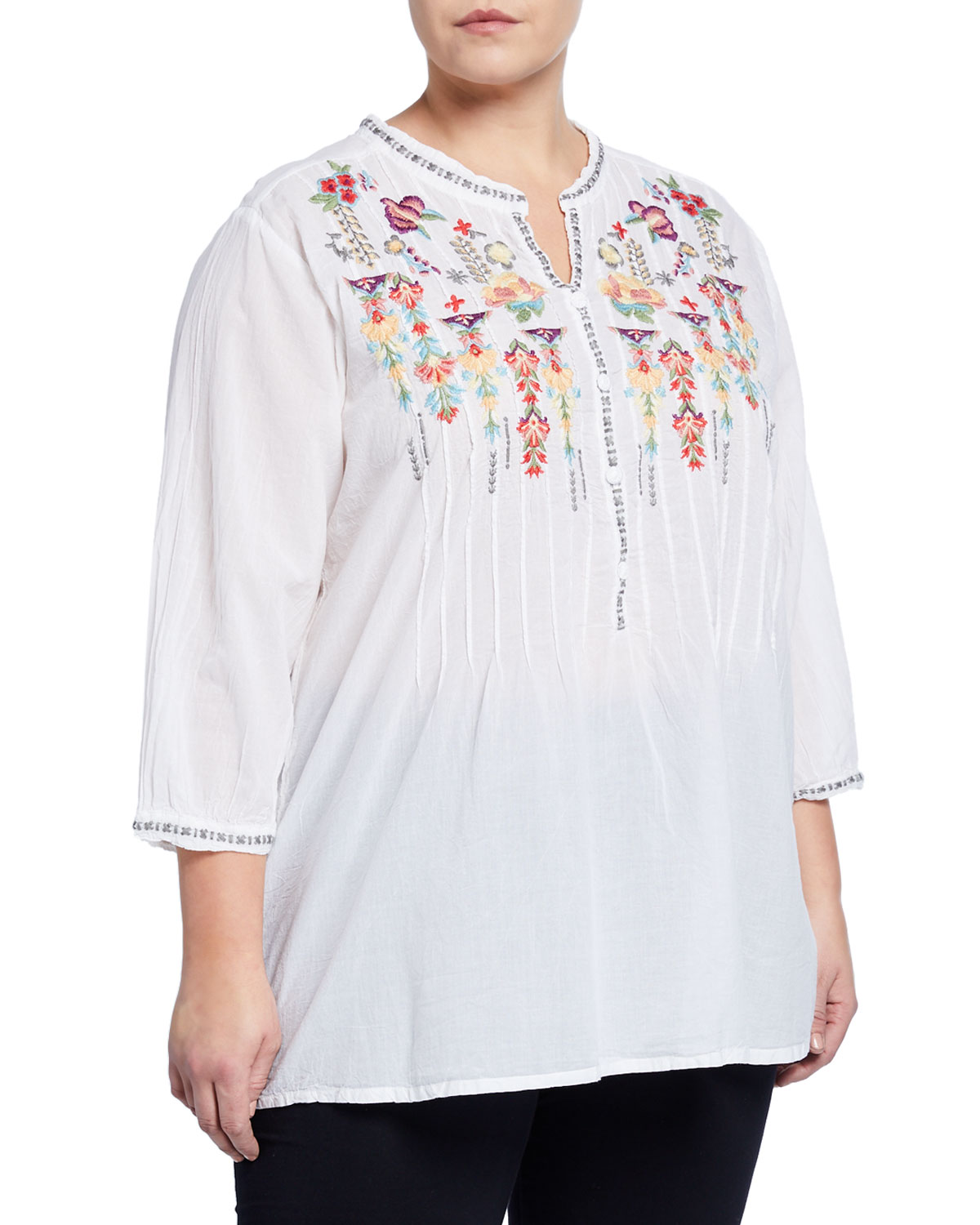 Johnny Was Plus Size Brenda Floral Embroidered Tunic In White