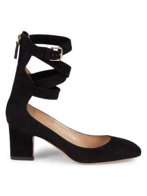 Valentino Square Toe Suede Ankle-Strap Pumps In Black