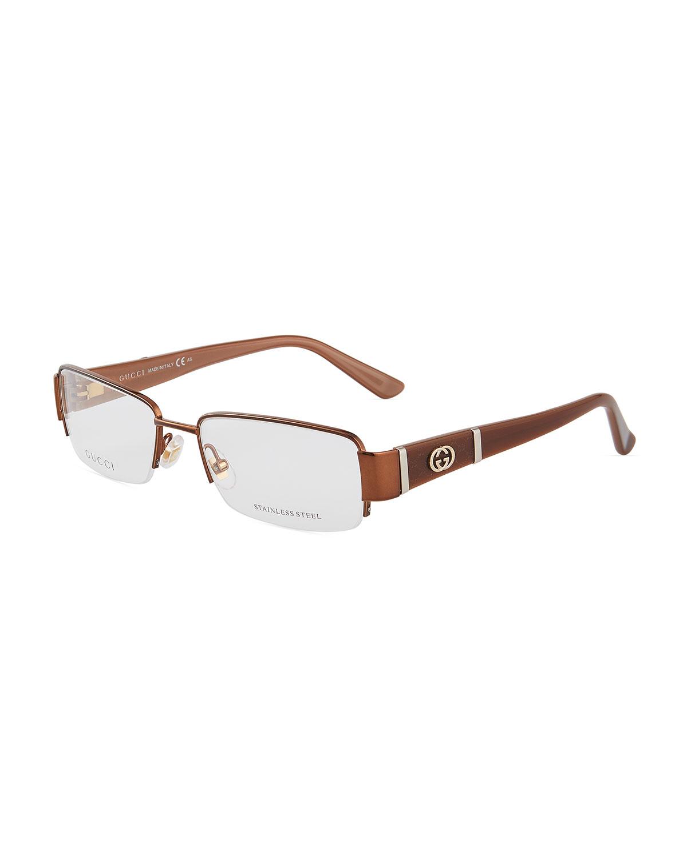 e5731e44204 Gucci Rectangular Half-Rim Acetate Metal Optical Glasses In Brown ...