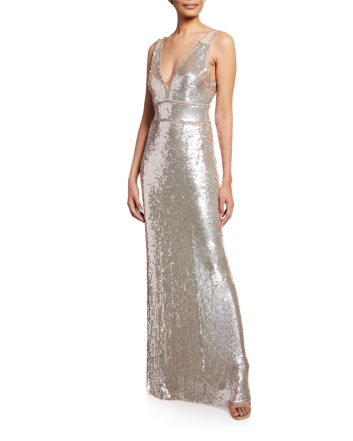 bd83f81d Jenny Packham Sleeveless Sequined Deep V Gown In Silver