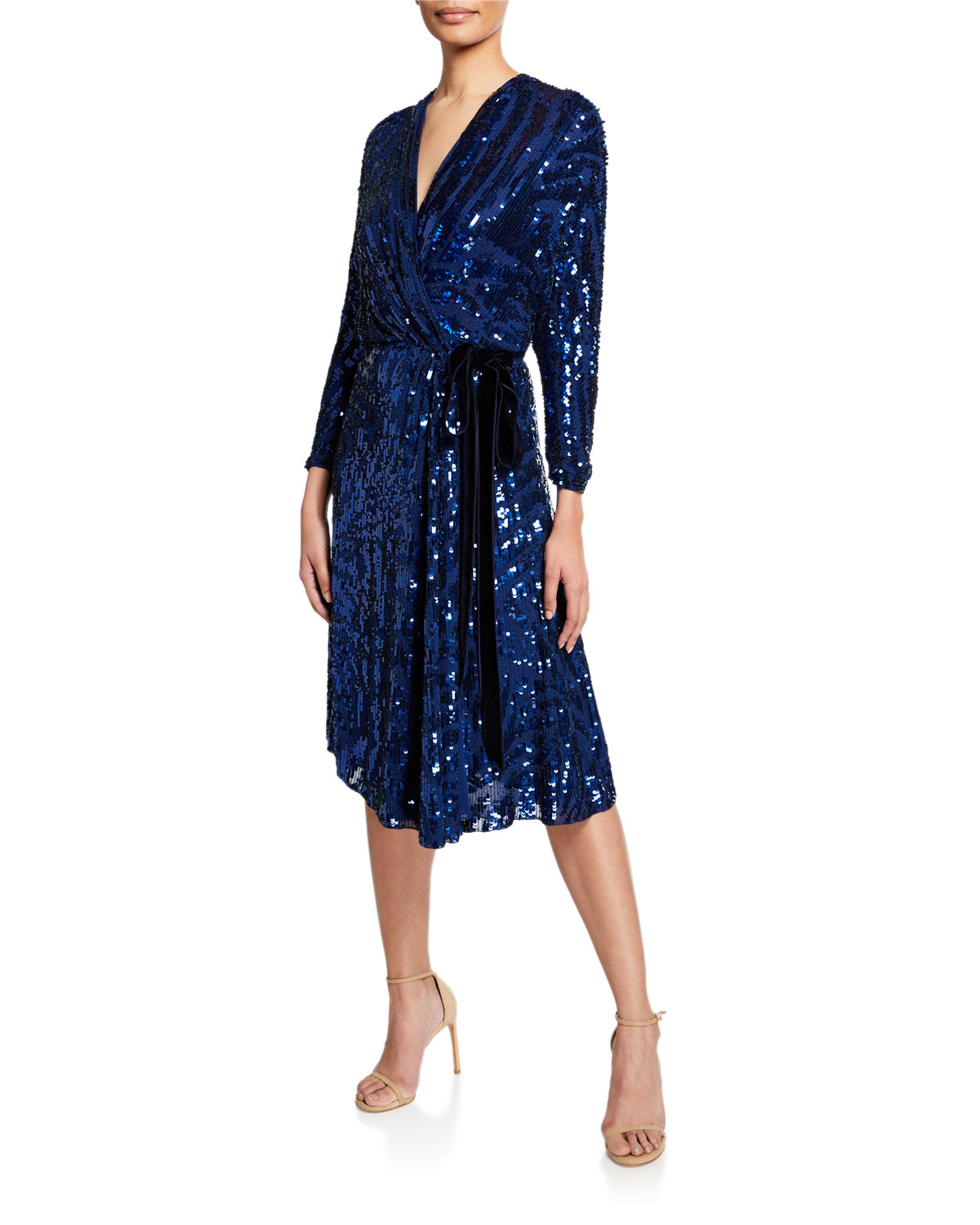 Jenny Packham Long-Sleeve Wrapped Beaded Cocktail Dress In Blue