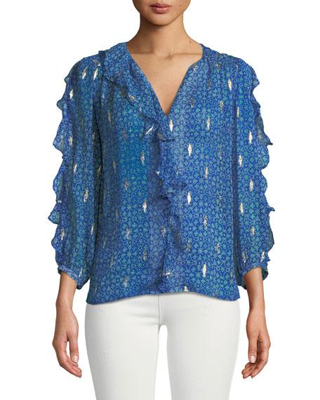 Ba&sh Masha Silk 3/4-sleeve Ruffle Top In Blue