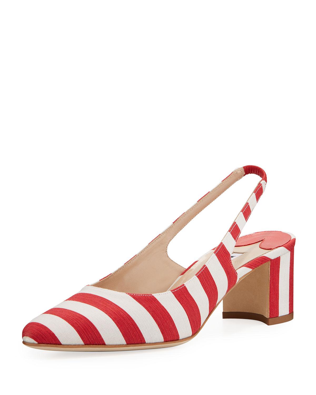 b191bbbe14083 Manolo Blahnik Allurasa Fabric Slingback Pumps In Red/White | ModeSens