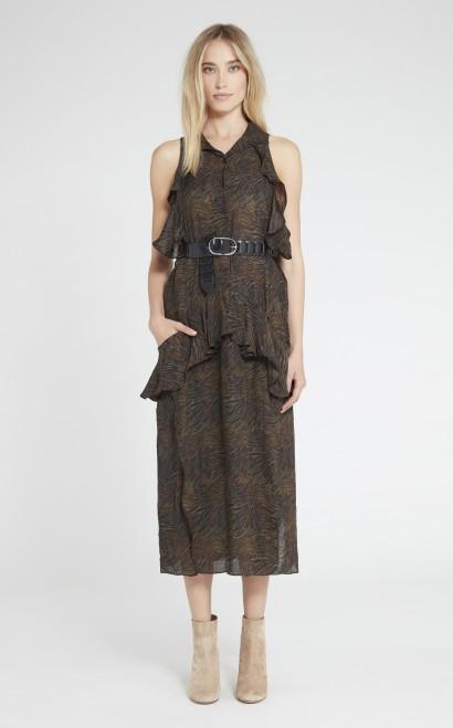 Iro Valerya Silk Zebra-Print Dress In Black