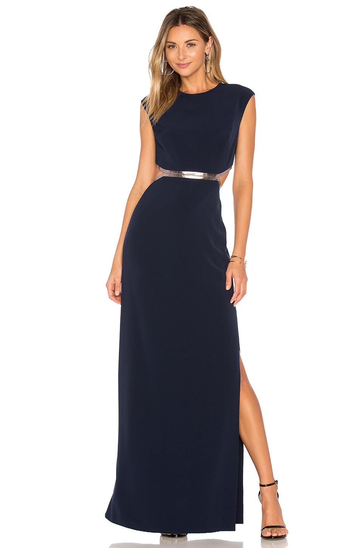 Halston Heritage Sleeveless Metallic-trim Stretch Crepe Gown, Dark Navy/gunmetal, Multi In Blue
