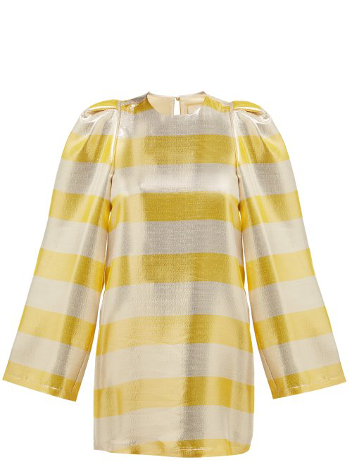 By. Bonnie Young Striped Silk-Blend LamÉ Dress In Metallic