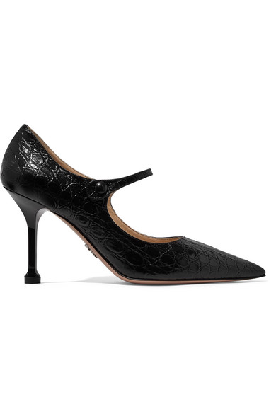 Prada 90 Croc-Effect Leather Mary Jane Pumps In Black