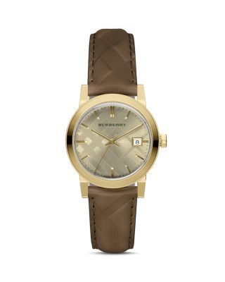Burberry 34mm The City Round Check Watch W/ Leather Strap In Gold