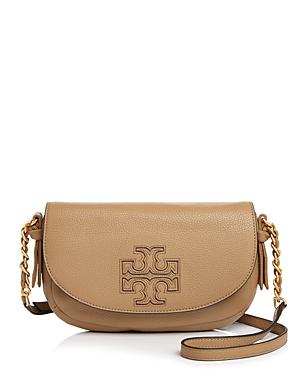 6cf324ec0adff Tory Burch Harper Leather Crossbody In Vintage Camel Gold