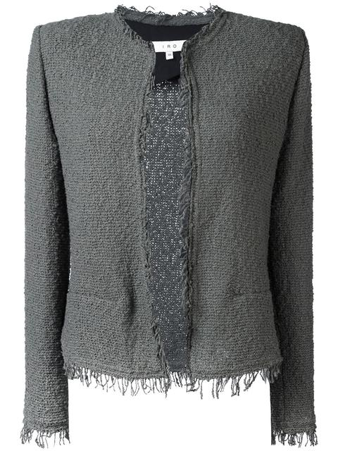 Iro Shavani Open-front Boucle Jacket, Steel Gray, Steel Grey