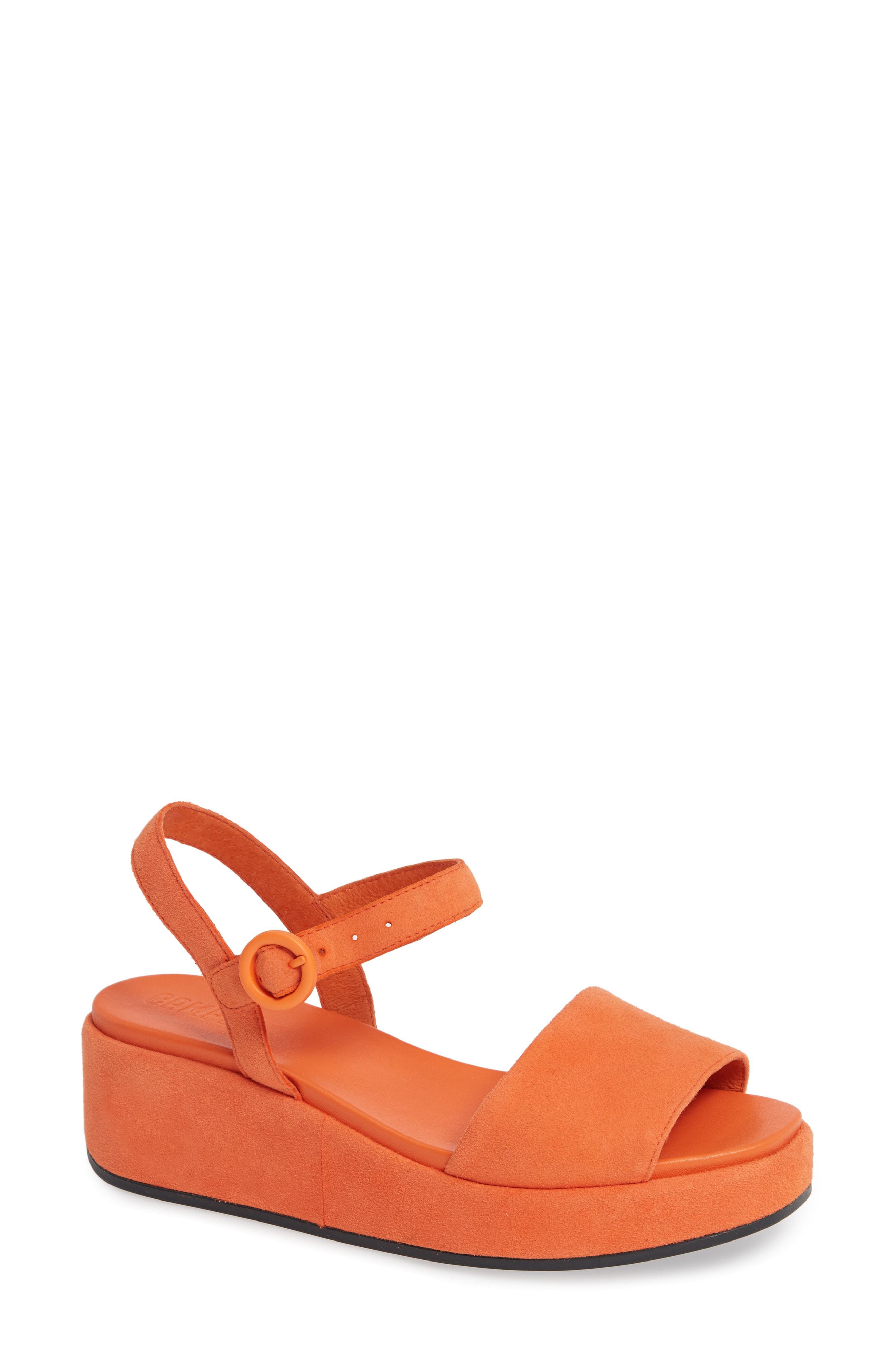 5dd14404fd9 Camper Misia Platform Wedge Sandal In Medium Orange Leather
