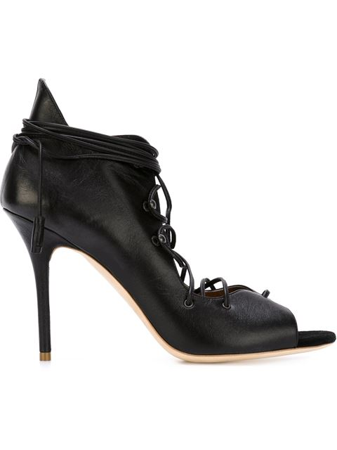 Malone Souliers Savannah Lace-Up Leather Sandals In Black