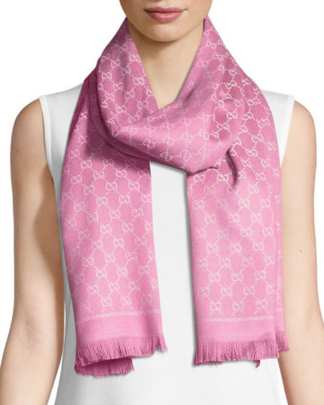 cef02f508015b Gucci Reversible Wool Stencil Scarf In White Pink