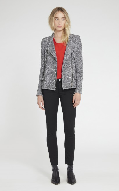 Iro Carlota Asymmetric Tweed Jacket, Black/white