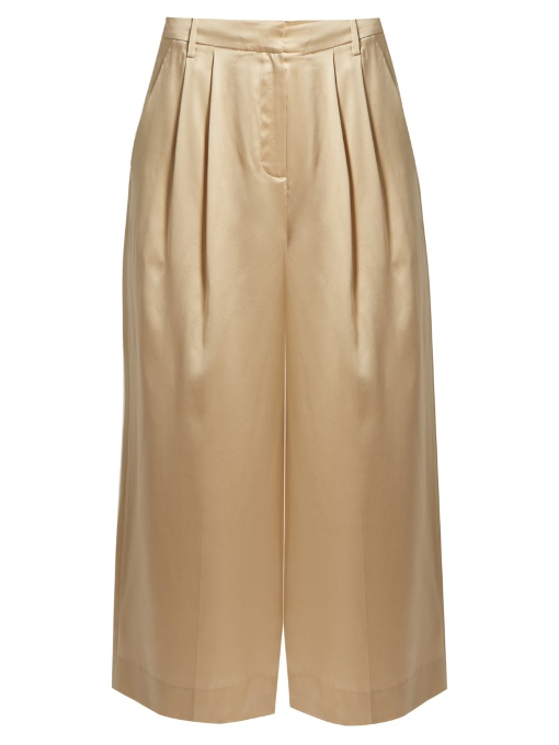 Tibi Mid-rise Wide-leg Cropped Silk-satin Trousers In Champagne