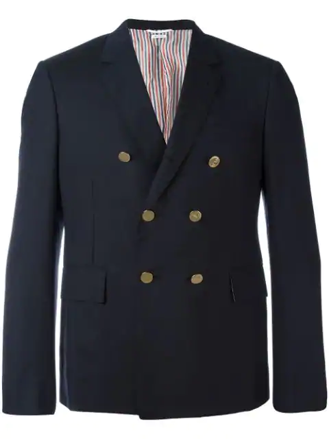 Thom Browne Short Double-Breasted Blazer - Blue