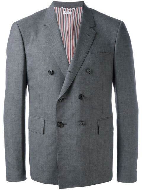 Thom Browne Double Breasted Blazer In Grey