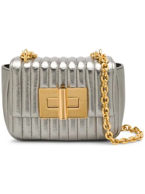 Tom Ford Quilted Mini Shoulder Bag In Silver