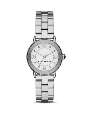 Marc Jacobs Riley Stainless Steel Timepiece In Silver/white