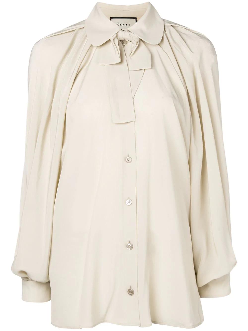 e68f1f489eb281 Gucci Neck Bow Shirt - Metallic | ModeSens