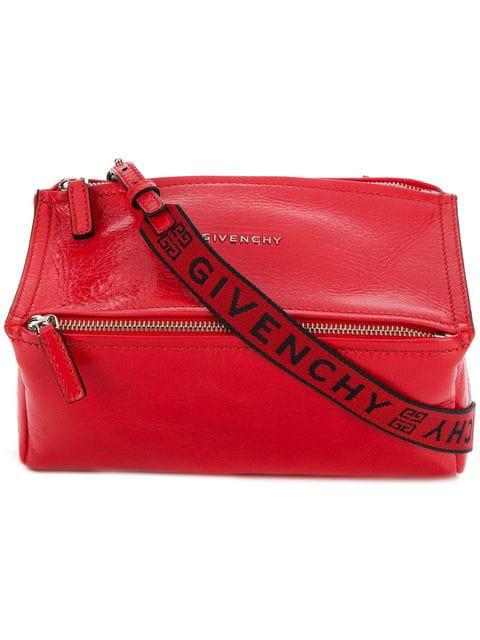 Givenchy Mini Pandora Glazed Leather Shoulder Bag - Black In 629 Pop Red