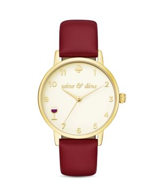 Kate Spade Metro Stainless Steel, Leather Wine And Dine Watch In Tan