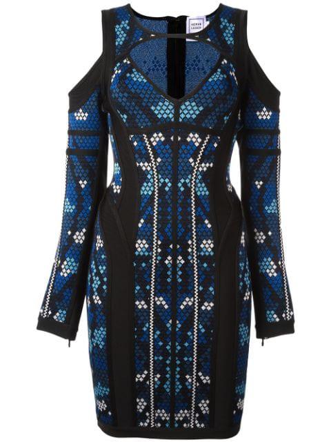 Herve Leger 'pixel' Print Cut-off Dress In Blue