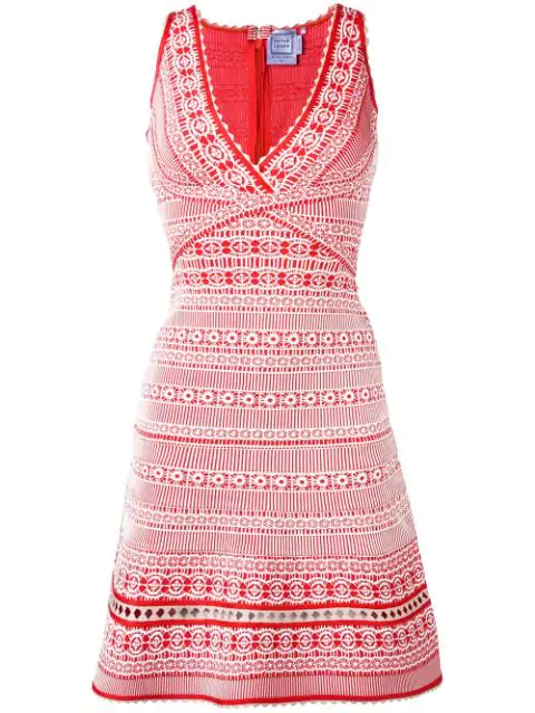 Herve Leger Embroidered Dress In Red