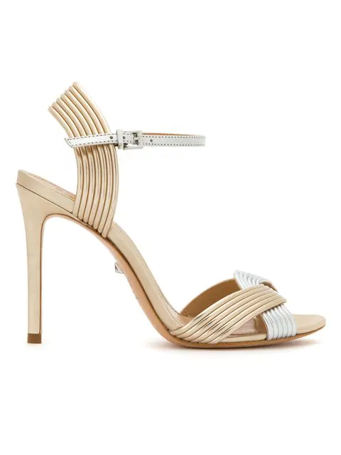 Schutz Ribbed-style Strappy Sandals In Metallic