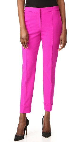 Narciso Rodriguez Wool-blend PiquÉ Tapered Pants In Fuchsia
