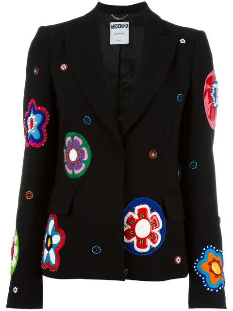 Moschino Flower AppliquÉ Blazer In Black Multi