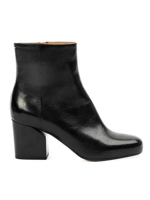 Maison Margiela Leather Chunky Heel Mid-Calf Boots In Black