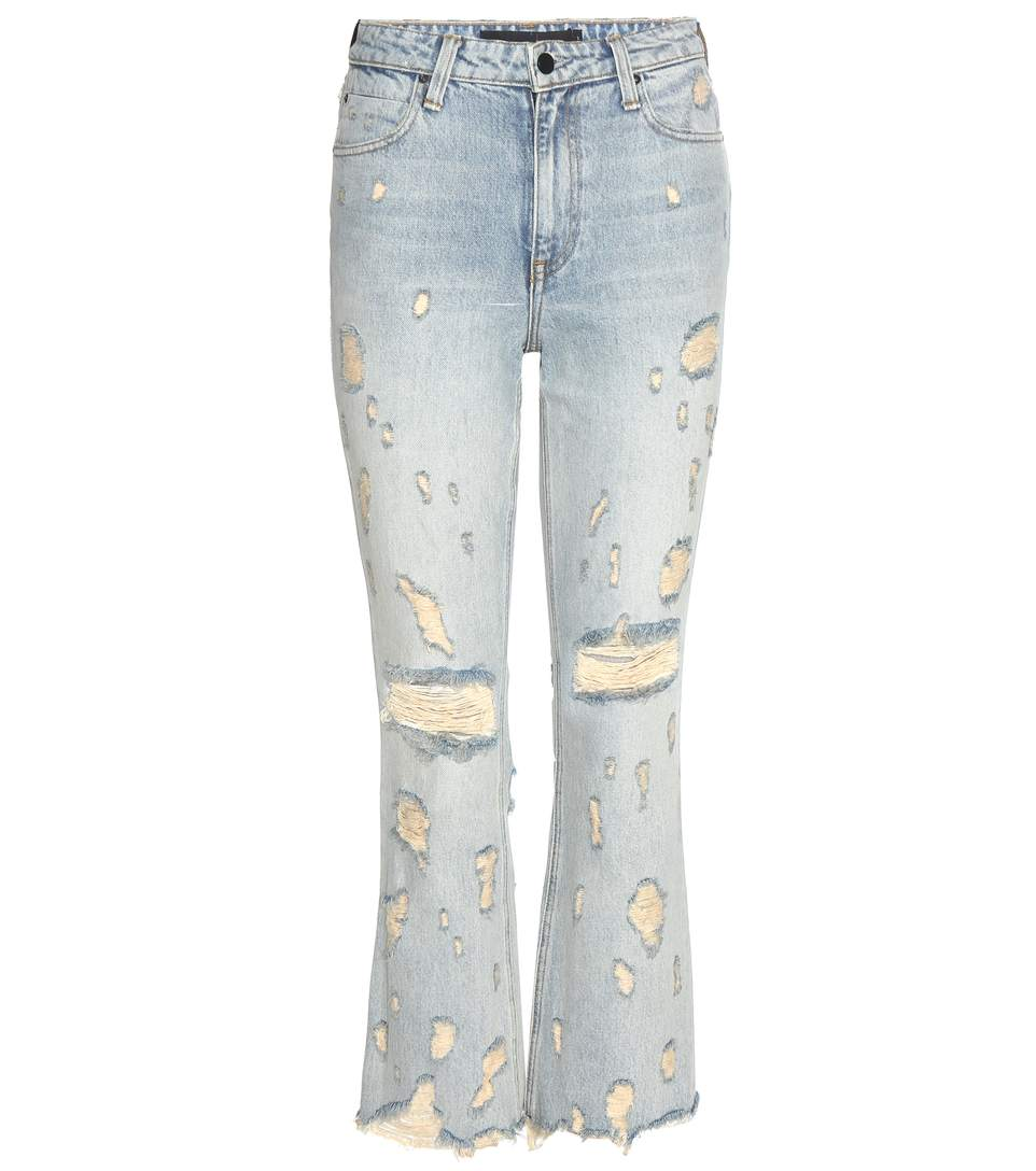 Alexander Wang Grind Cropped Distressed High-rise Bootcut Jeans In Lleach
