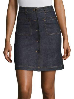 Carven Cotton Blend Button Front Skirt In Indigo