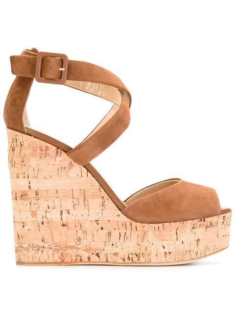Giuseppe Zanotti Roz Crisscross Platform Wedge Sandals In Brown