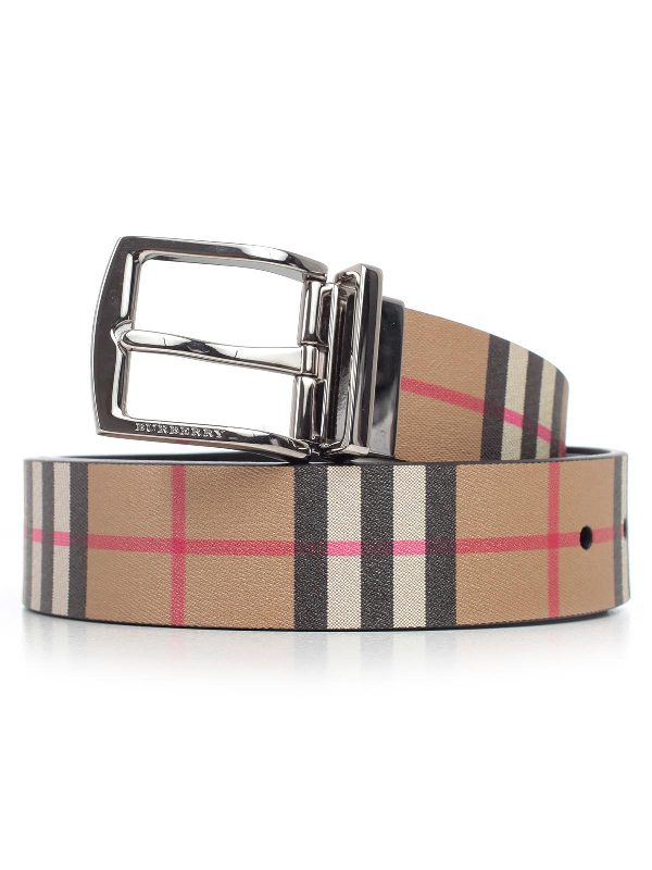 397d04fa07cf Burberry Reversible Vintage Checked Belt In Black | ModeSens