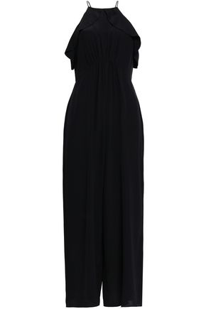 Zimmermann Woman Ruffled Silk Crepe De Chine Jumpsuit Black
