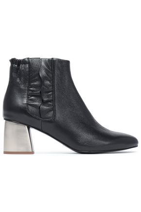 Jil Sander Navy Woman Ruffle-Trimmed Leather Ankle Boots Black