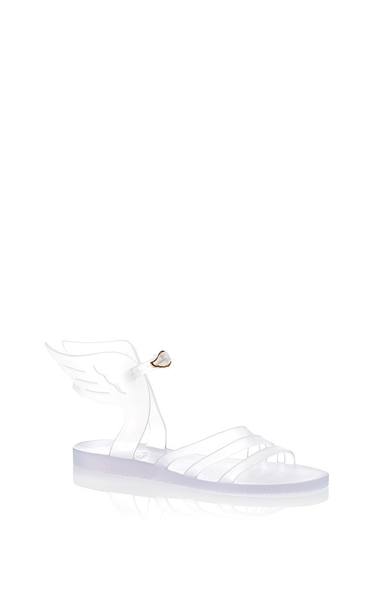 Ancient Greek Sandals Ikaria Winged Flat Jelly Sandal In Clear Rubber