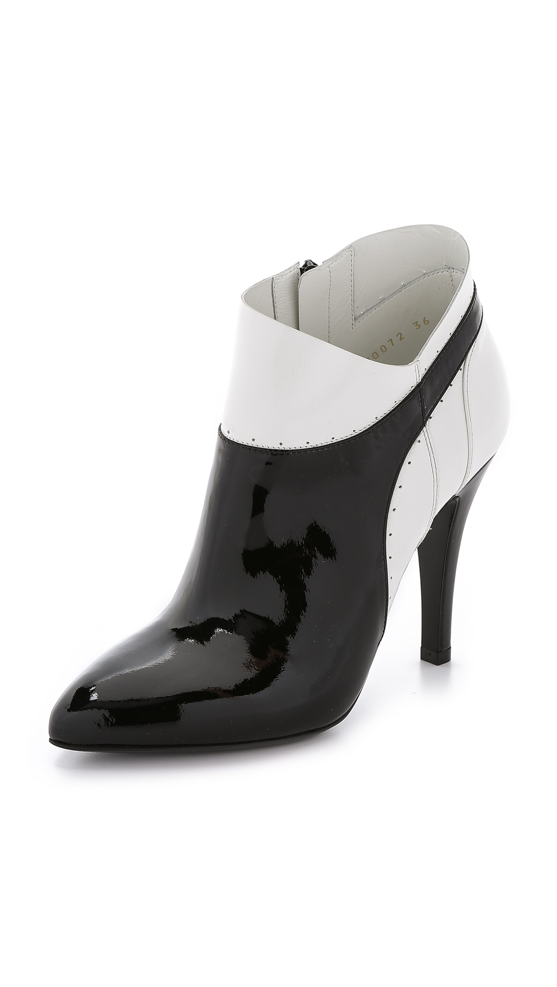 Maison Margiela 100Mm Patent Leather Ankle Boots In Black/White