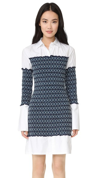 Opening Ceremony Contrasting Print Shirt Dress In Blue