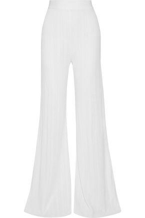 Balmain Woman Ribbed-Knit Wide-Leg Pants Ivory
