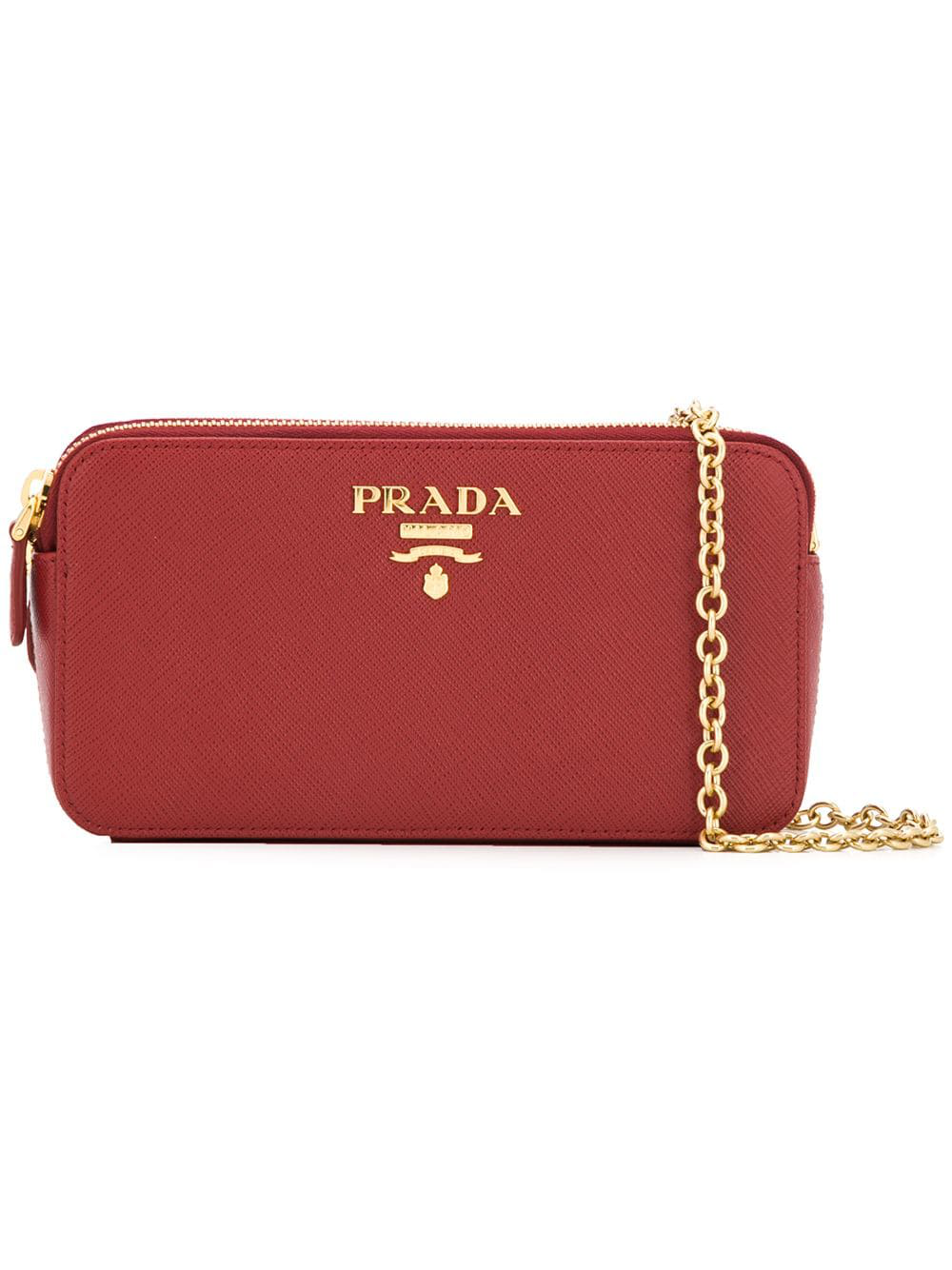 a9c837ffd430 Prada Logo Plaque Clutch Bag - Red