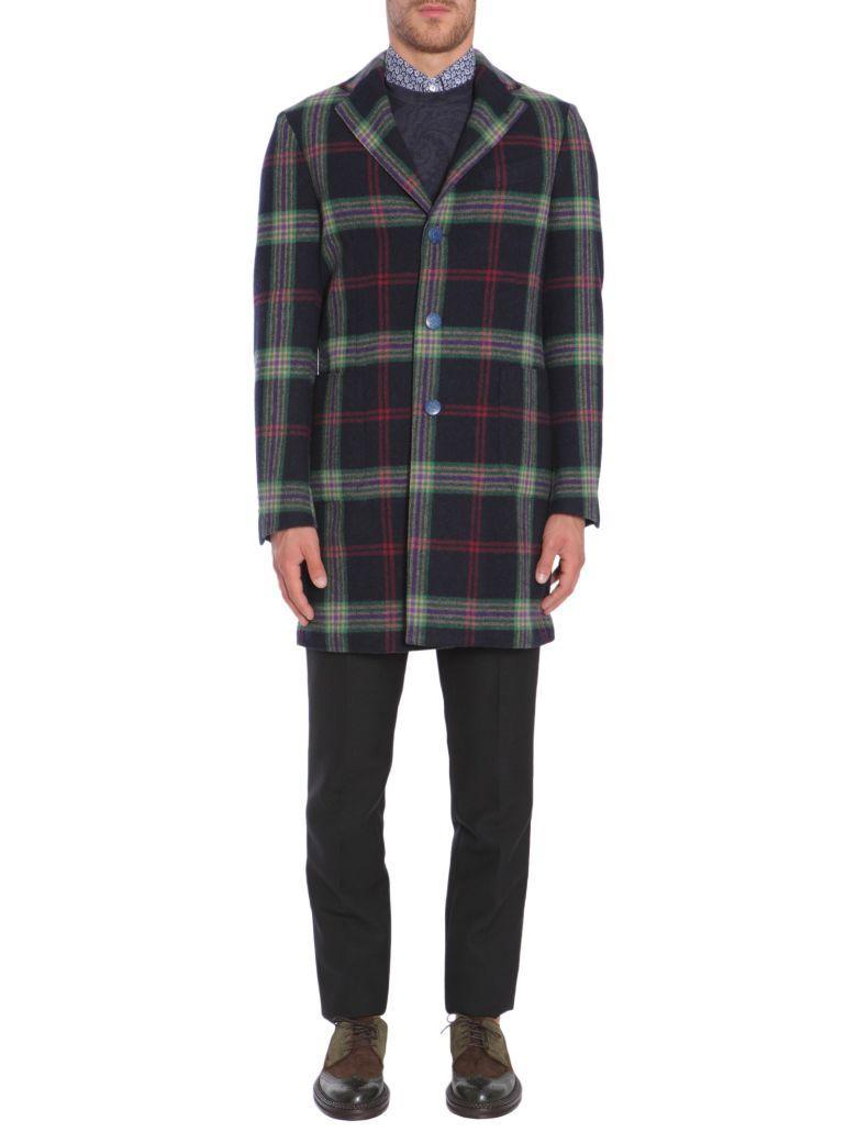 Etro Check Wool Coat In Blu