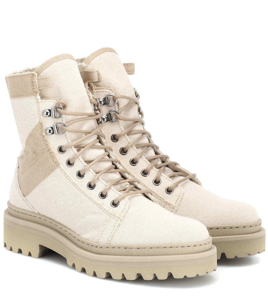 Balmain Canvas Ankle Boots In Beige