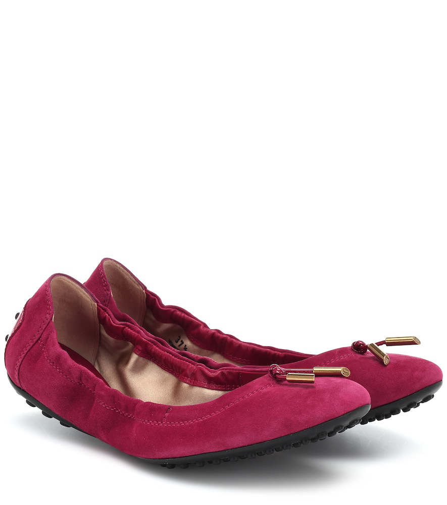 Tod's Suede Ballet Flats In Red