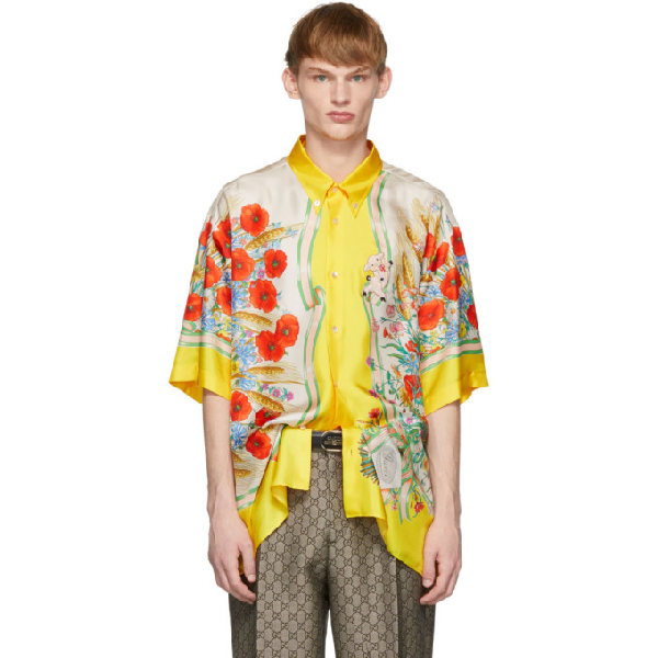 25811bca Gucci Floral-Print Oversized Silk-Twill Shirt In 7070Ylwivry | ModeSens