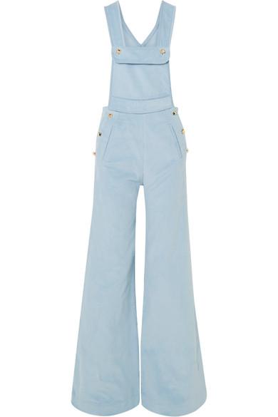 Anna Mason Bay Cotton-Corduroy Overalls In Blue