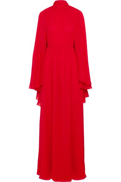 Giambattista Valli Cape-Effect Silk-Chiffon Gown In Red